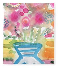 Fresh Picked Flowers In A Blue Vase- Contemporary Watercolor Painting Fleece Blanket