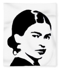 Frida Black And White Fleece Blanket
