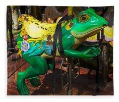Frog Carrousel Ride Fleece Blanket