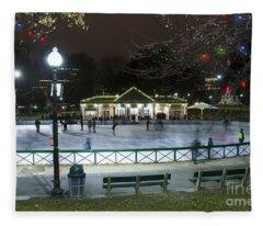 Frog Pond Ice Skating Rink In Boston Commons Fleece Blanket