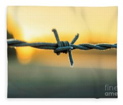 Frost On Barbed Wire At Sunrise Fleece Blanket