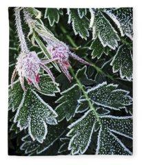Frost On Plants In Late Fall Fleece Blanket