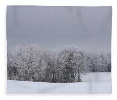 Frosty Farm Fields Fleece Blanket