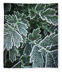 Frosty Leaves In Late Fall Fleece Blanket