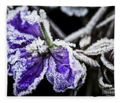 Frosty Purple Flower In Late Fall Fleece Blanket