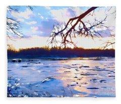 Frozen Delaware River Sunset Fleece Blanket