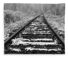 Frozen Illusion - Train Tracks Vanish  Into Frozen Fog Fleece Blanket