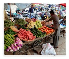 Fruit And Vegetable Seller Tends To His Cart Outside Empress Market Karachi Pakistan Fleece Blanket