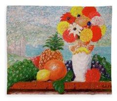 Fruit Flowers And Castle Fleece Blanket