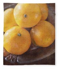 Fruit Still Life Oranges And Antique Silver Fleece Blanket