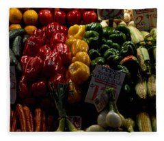 Fruits And Vegetables At A Market Fleece Blanket