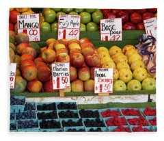Fruits At A Market Stall, Pike Place Fleece Blanket