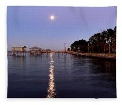 Full Moon On The Bay Fleece Blanket