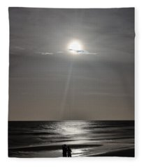 Full Moon Over Daytona Beach Fleece Blanket