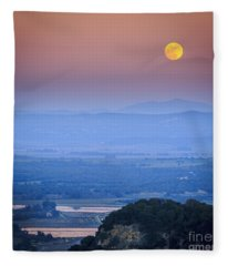 Full Moon Over Vejer Cadiz Spain Fleece Blanket