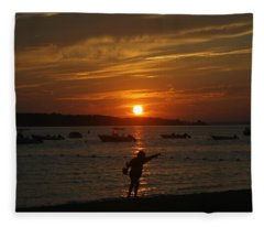 Fun At Sunset Fleece Blanket