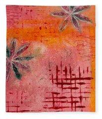 Fun Flowers In Pink And Orange 2 Fleece Blanket