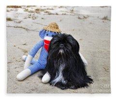 Funky Monkey And Sweet Shih Tzu Fleece Blanket