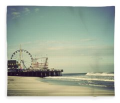 Funtown Pier Seaside Heights New Jersey Vintage Fleece Blanket