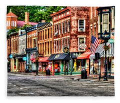 Galena Main Street Early Summer Morning Fleece Blanket