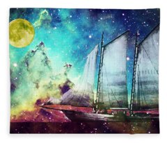 Galileo's Dream - Schooner Art By Sharon Cummings Fleece Blanket