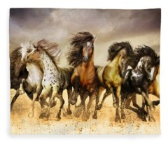 Galloping Horses Full Color Fleece Blanket