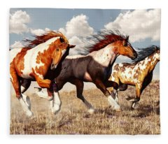 Galloping Mustangs Fleece Blanket