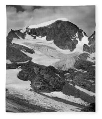 509427-bw-gannett Peak And Gooseneck Glacier, Wind Rivers Fleece Blanket