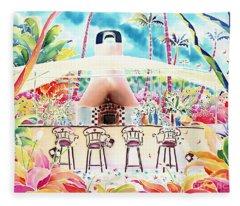 Garden Restaurant Fleece Blanket