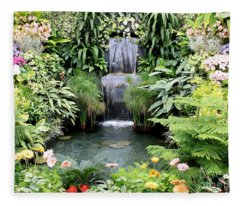 Garden Waterfall Fleece Blanket
