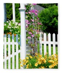Garden With Picket Fence Fleece Blanket