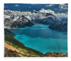 Garibaldi Lake Blues Greens And Mountains Fleece Blanket