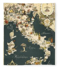 Gastronomic Map Of Italy 1949 Fleece Blanket
