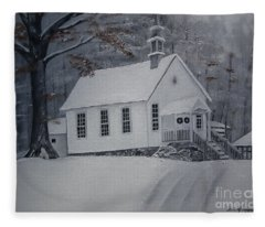 Gates Chapel - Ellijay - Signed By Artist Fleece Blanket