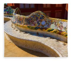 Gaudi's Park Guell Sinuous Curves - Impressions Of Barcelona Fleece Blanket