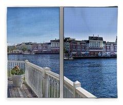 Gazebo 02 Disney World Boardwalk Boat Passing By 2 Panel Fleece Blanket