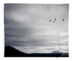 Geese Flying South For Winter Fleece Blanket
