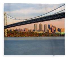 George Washington Bridge In Autumn Fleece Blanket