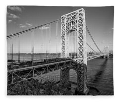 George Washington Bridge Nyc Bw Fleece Blanket