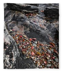Georgian Bay Rocks Abstract I Fleece Blanket