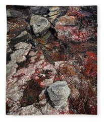 Georgian Bay Rocks Abstract II Fleece Blanket