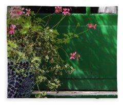 Geraniums And Green Door Fleece Blanket