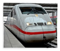German Ice Intercity Bullet Train Munich Germany Fleece Blanket