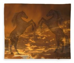 Ghost Horses At Sunset Fleece Blanket