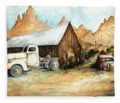 Ghost Town Nevada - Western Art Painting Fleece Blanket