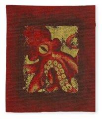 Giant Red Octopus Fleece Blanket