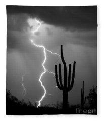 Giant Saguaro Cactus Lightning Strike Bw Fleece Blanket