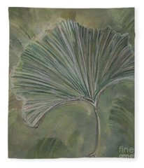 Ginko Leaf Fleece Blanket