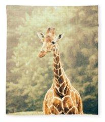 Giraffe In The Rain Fleece Blanket