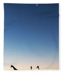 Giraffe, Makgadikgadi Pans National Fleece Blanket